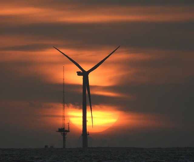 Offshore Wind Turbine at Sunrise - Newbiggin