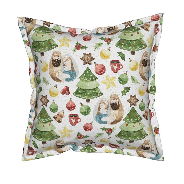 Holidays Around the World - Holy Night in Germany  on white Pattern Pillow
