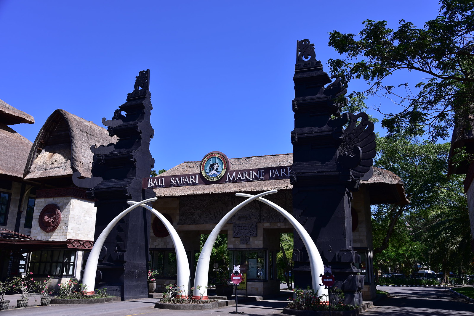 The main outer entrance gates to the Bali Safari and Marine Park