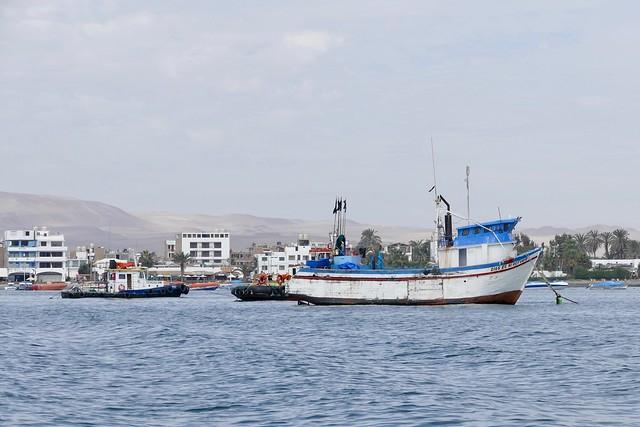 fishing boat Dios es mi Refugio in the bay of Paracas Pisco Peru