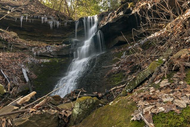 Unnamed ephemeral waterfall, Bridgestone Firestone Centennial Wilderness WMA, White County, Tennessee