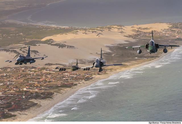 F-16C, A-37, F-5EM e A-1M (