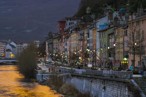grenoble isere france sunset rainy rain clouds river