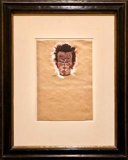 Autoportrait, tête, 1910, Egon Schiele