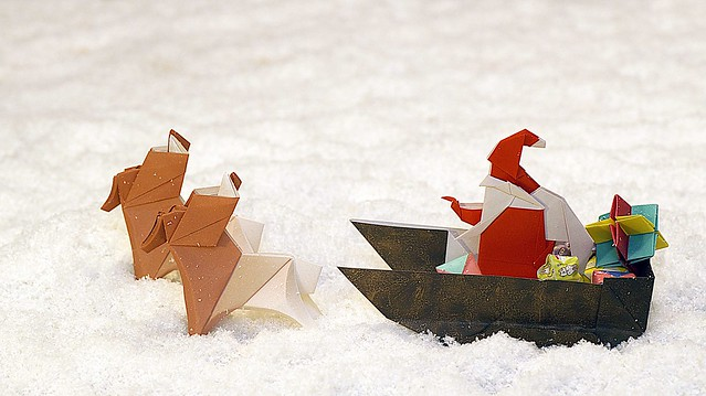 Origami Babbo Natale con slitta e renne (Luigi Leonardi)