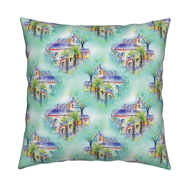 THE SPANISH VILLA DAYLIGHT Throw Pillow by Paysmage