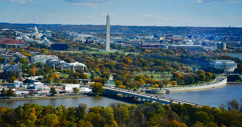 arlingtoncounty virginia unitedstates us washington dc viewed from observation deck ceb tower rosslyn va washingtondc usa america arlington potomac river water monument memorial capital capitol building congress aerial view city skyline fall autumn color colors colour colours tree trees leaves leafs