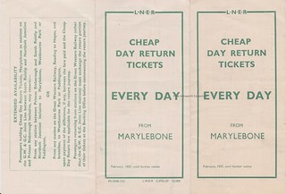 London & North Eastern Railway; cheap day return tickets from Marylebone station to Chiltern stations, 1937