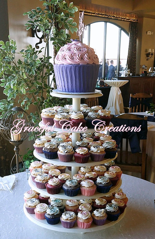 Cupcake Wedding Cake In Burgundy Blush And Navy Blue Flickr