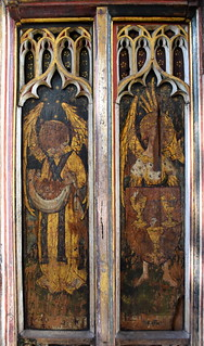 north aisle screen: angels bearing souls and a shield of the eucharist (15th Century) | by Simon_K