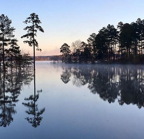 fallslake reflections sunrise