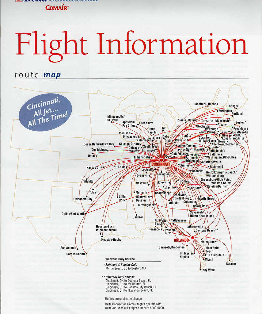 Delta Connection Comair route map, 2002 | The Delta Connecti… | Flickr