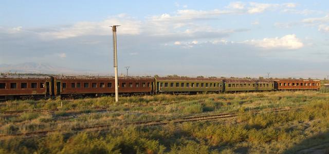 Abandoned passenger cars at the Sovetakan railway station, 05.09.2013.