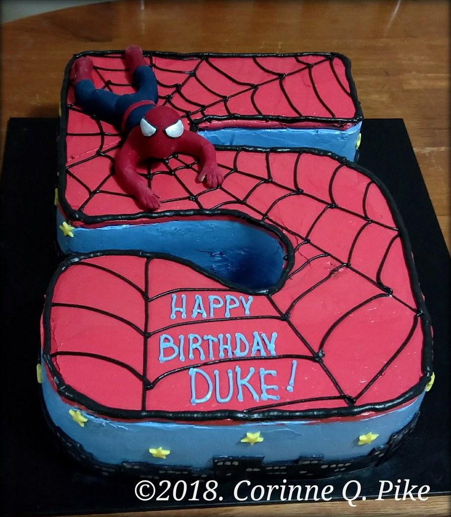 Spiderman Number 5 Cake