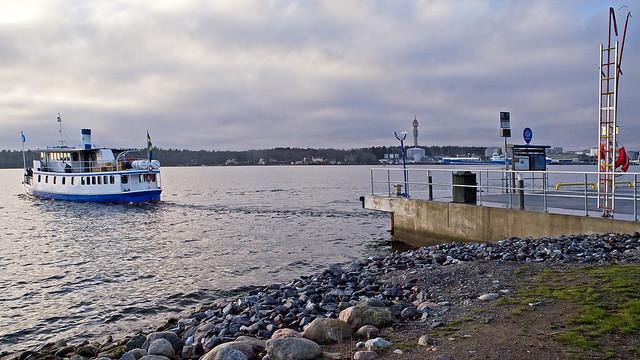 The commuter boat Gurli departing from Larsberg on the island of Lidingö near Stockholm