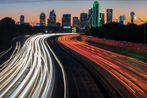 dallas interstate30 nikon nikond5300 texas tomlandryfreeway city cityscape downtown freeway geotagged light lightstream lighttrails lights longexposure morning sky skyline skyscraper skyscrapers sunrise traffic urban northedgefieldavenue
