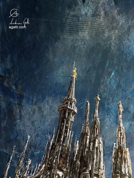 Milan Cathedral Spires dark