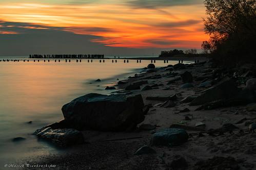 babiedołytorpedownia jesień sunrise sea balticsea bay water sky beach