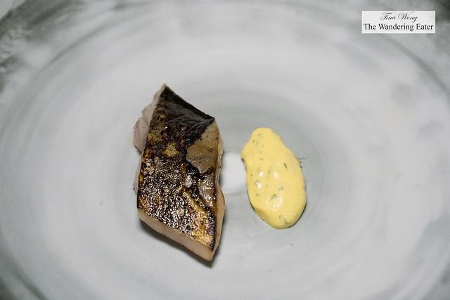 Ichiju-sansai inspired course - marinated mackerel with tartar sauce