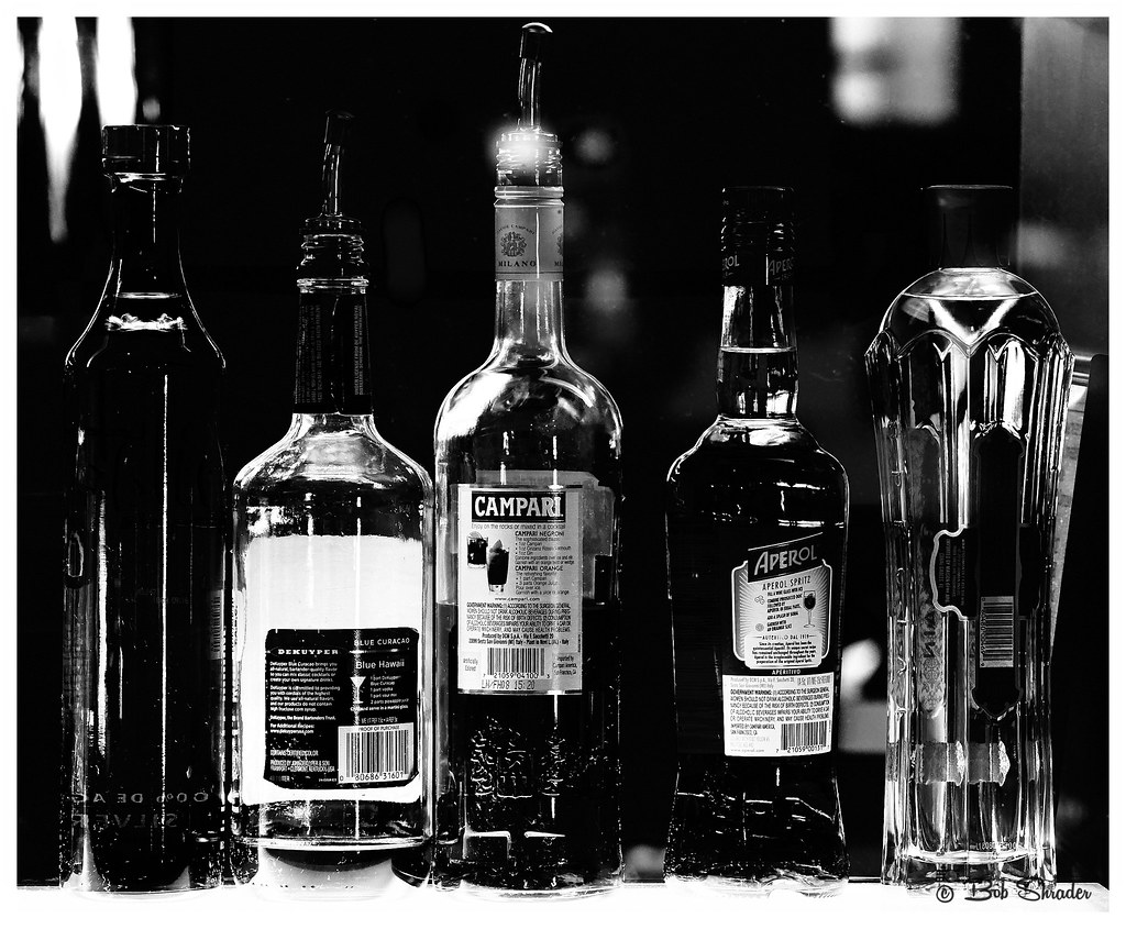 Black and White Spirits   High contrast rendering of bottles