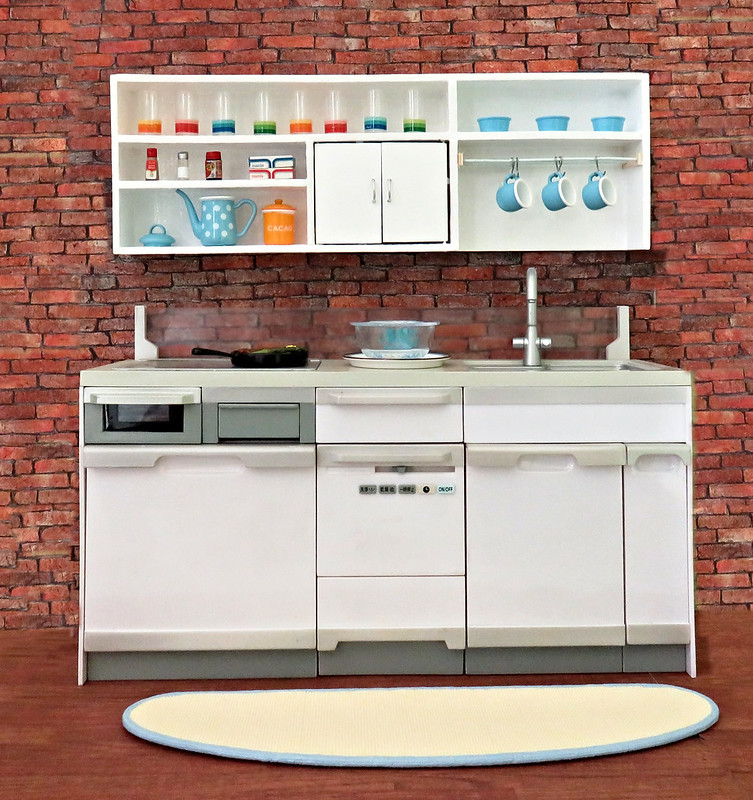Re-ment System Kitchen With Upper Cabinets