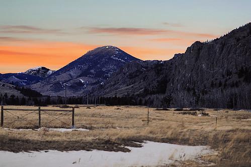 montana nye limestonebutte trees snow sunset mountain ridge field fence telephonepole stillwatervalley westforkofthestillwater stillwatercounty wyojones