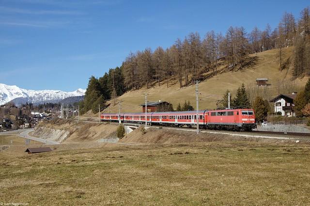 111 174-9 mit RE von München Hbf nach Innsbruck bei Seelfeld in Tirol am 16.03.13