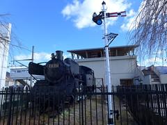 C11蒸気機関車と腕木式信号機が保存されている