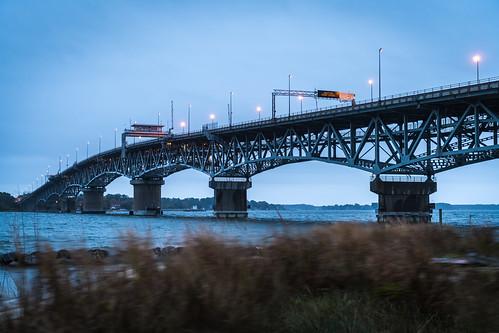 georgepcolemanmemorialbridge gloucesterpoint virginia yorktown bridge cloudy rain sunrise