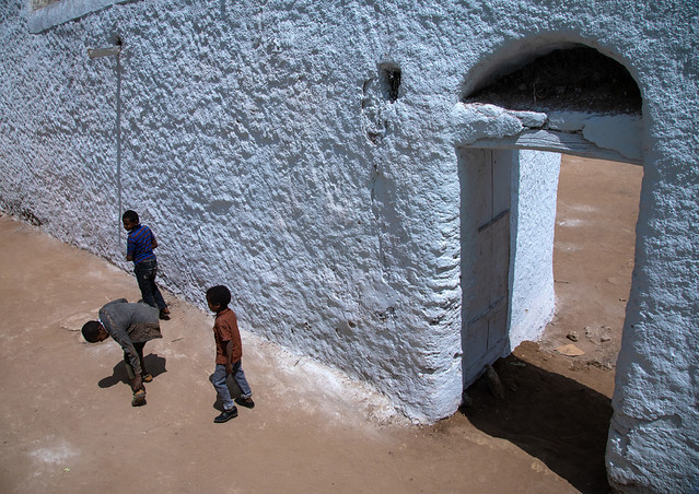 Ethiopian children in front of an muslim holy site, Harari Region, Harar, Ethiopia