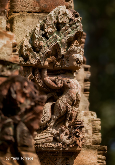 Degraded, but Almost Cute Statue at Banteay Srei Temple, Angkor, Cambodia-64a