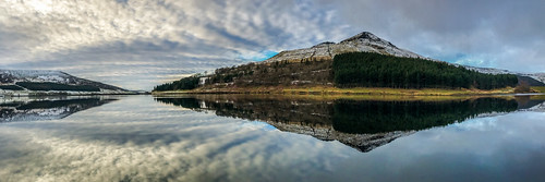 panorama panoramic landscape lake reservoir water reflections clouds view scene winter snow mountain manchester mcr greatermanchester light sky