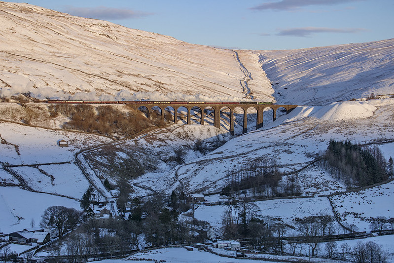 61306 Mayflower & 35018 British India Line cross Arten Gill Viaduct. Stone House hamlet lies in the valley below