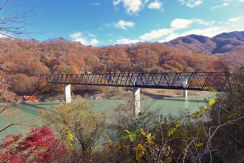 紅葉期の五十里湖を渡る列車を湯西川温泉駅前で撮影