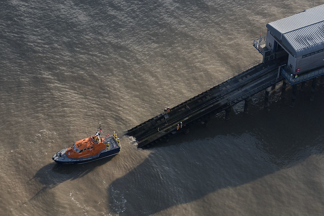 Cromer Lifeboat returning to the pier - aerial image
