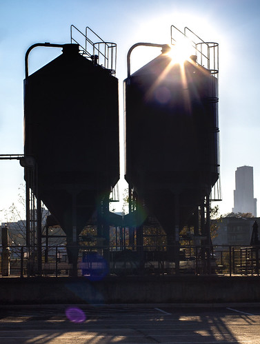 Brewery silos in silhouette