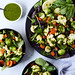 Mixed Greens Salad with Steam Fried Veggies and Lemon Basil Vinaigrette {Paleo, Vegan, Whole30, Keto}