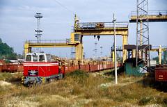 Rhodopenbahn / Rhodope Railway: TU7E 81.002 under the gantry trains at Septemvri. 17102000