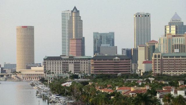 Florida - Tampa:  Downtown at dusk. The tower on the left is Rivergate Tower, a 454 ft / 138m tall skyscraper