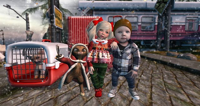 Joey, Krampus, & me are takin' the Polar Express to the North Pole to visit Santa!