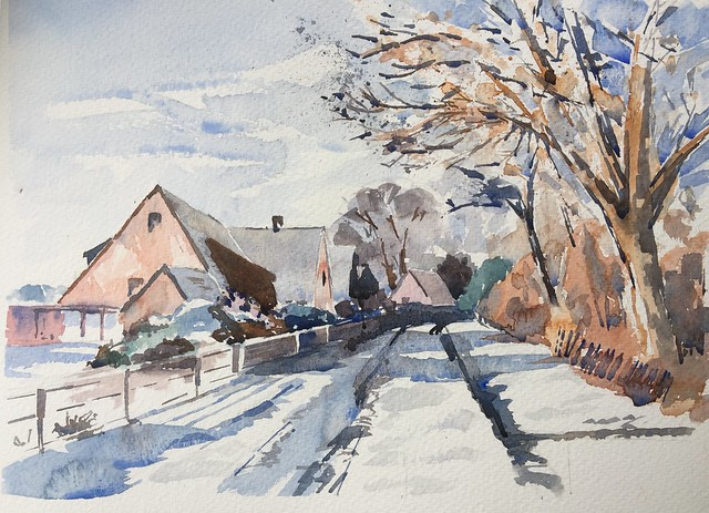 Tuesday Art class- 1st of the snow scenes
