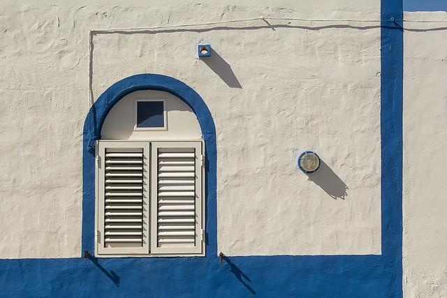 Facade with blue edges
