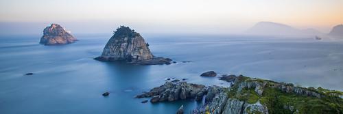 ocean longexposure blue sunset sea panorama seascape water landscape island asia korea busan southkorea 31 oryukdo