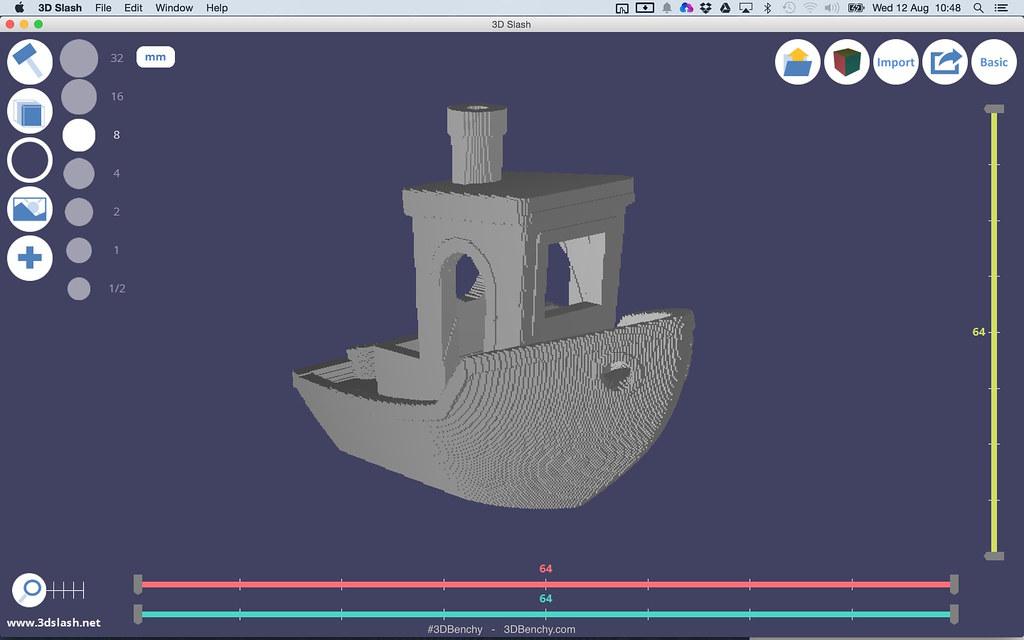 3DBenchy voxelized in 3D Slash 3D modelling software | Flickr