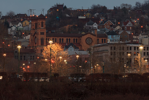 pennsylvania westernpa kwtracyghostship alleghenycounty church homestead pittsburgh unitedstates us community urban cozy inviting buildings america evening old city lights neighborhood 100400l canon 5dmkii dusk compressedview closeknit colorful diverse ornate worship longzoom telephoto