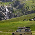 landcruiser in front of waterfall