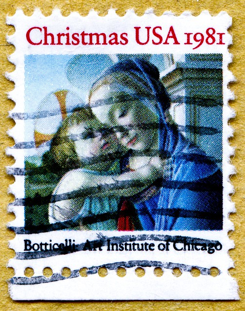 great xmas stamp USA Botticelli (italian painter 1445-1510) portrait Madonna Mary Jesus christmas stamp United States of America us cent noel timbre États-Unis u.s. postage selo natal Estados Unidos sello navidad USA francobolli natale Jul frimerker USA S