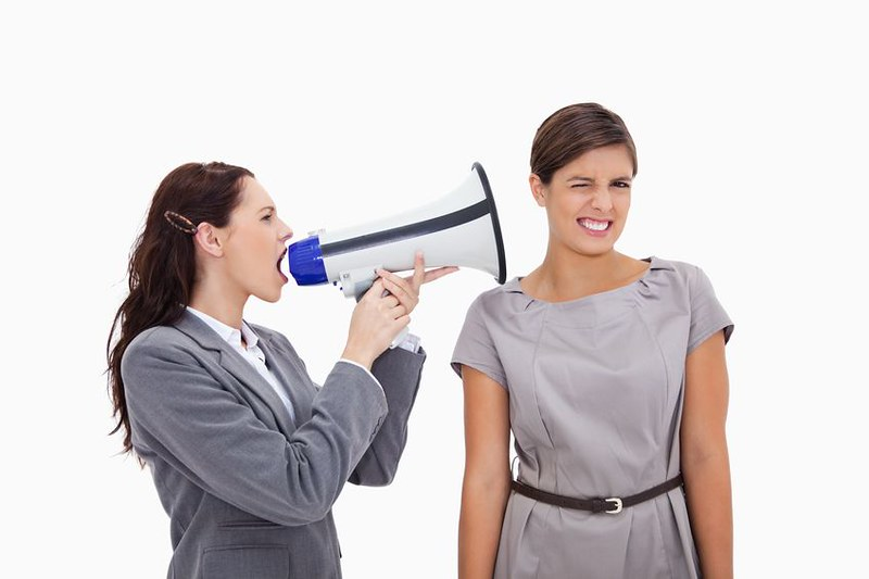 collegue megaphone | businesswoman with megaphone yelling at… | Flickr
