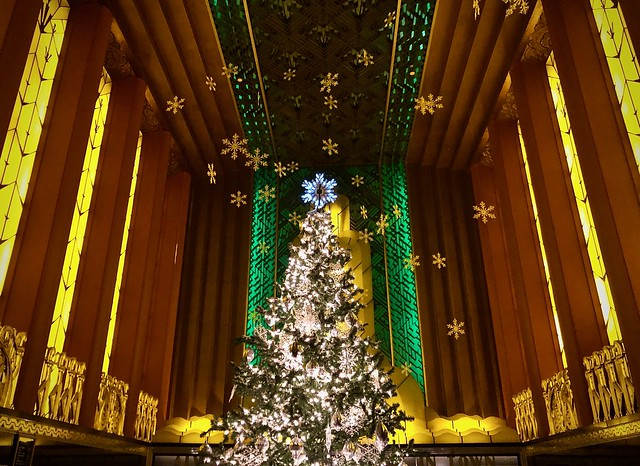 Paramount Theater dressed for the holidays
