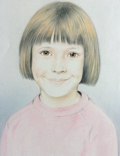 portrait of my Daughter Victoria. Drawn in 1983. Coloured pencil drawing on white card by jmsw.